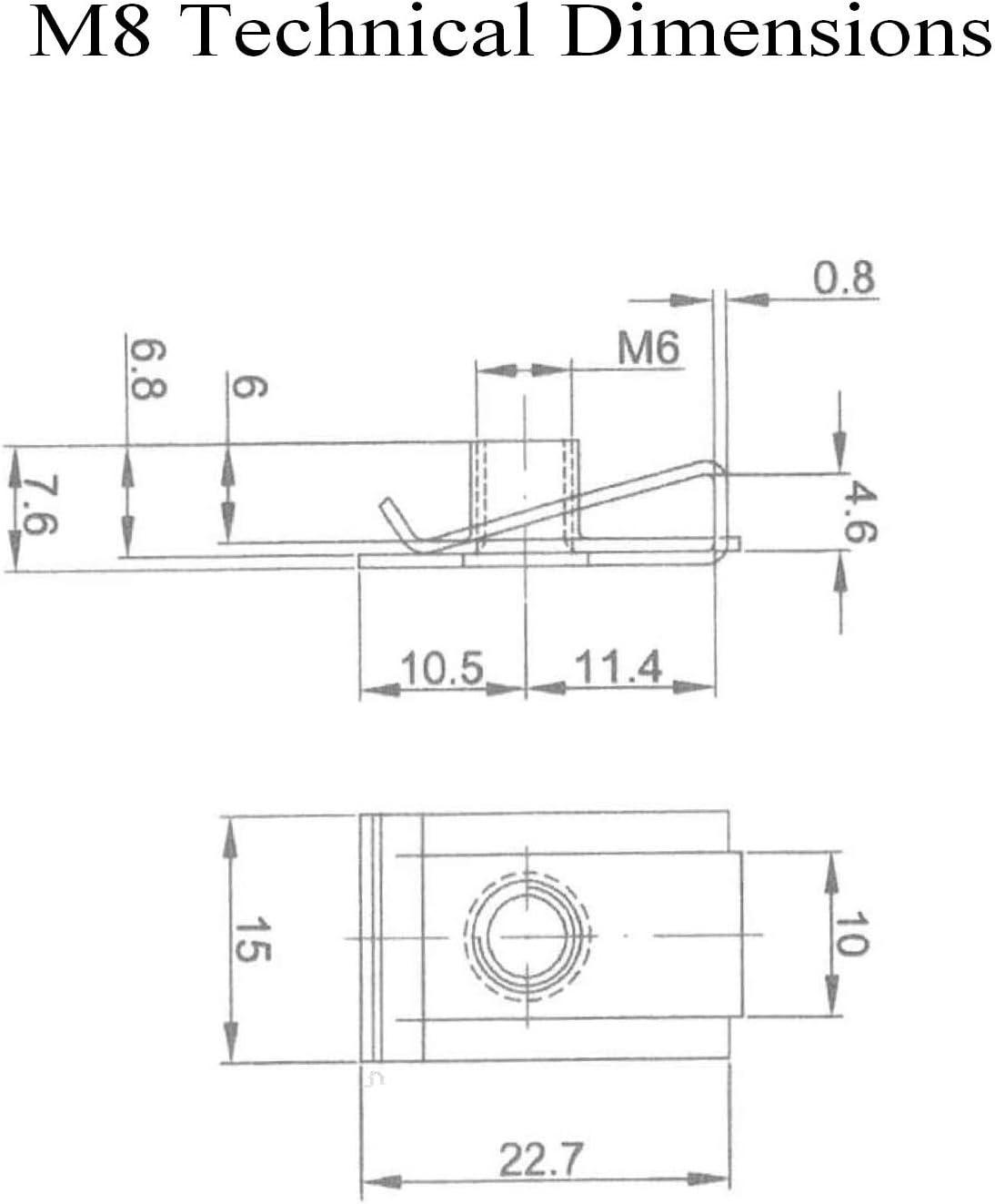 10 x Clips Speed Fastener Chimney U Nuts Autotaraudeuse M/étrique Vis Lug Spire M5