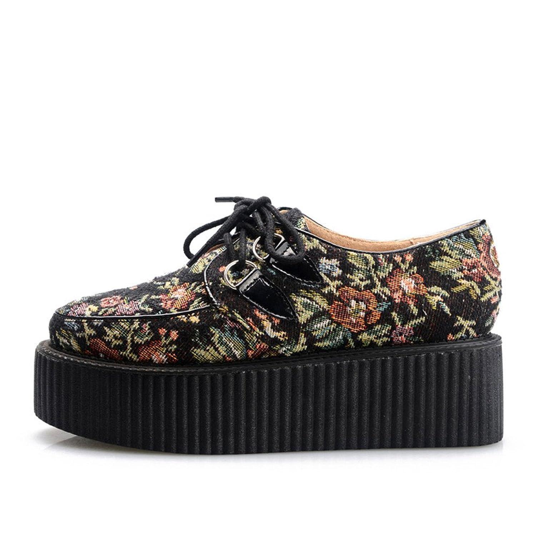RoseG Mujer Zapatos Plataforma Cordones Creepers Negro Flor Size39 rbDXo