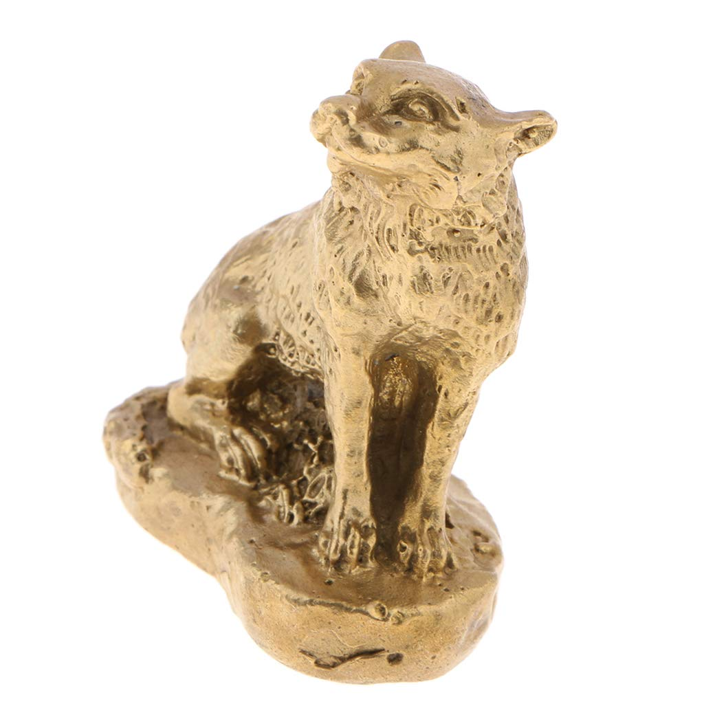 B Blesiya Pure Solid Brass Animals Statues Figurines Chinese Zodiac Shengxiao Ornaments for Home Office Table Desktop Shelf Decoration Dog