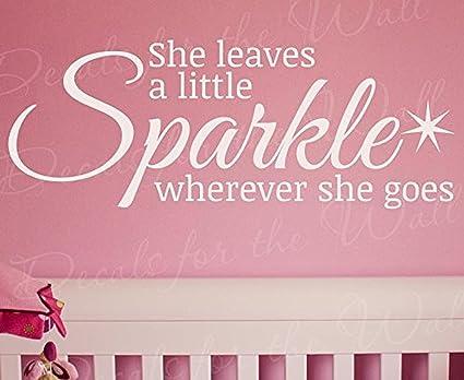 Wall Decal Letters She Leaves a Sparkle Wherever She Goes-Girls Women Kids  Beauty Fashion 48518e308