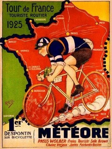 Tour de France Bike Bicycle Meteore 1925 Map French Poster Repro FREE SHIPPING