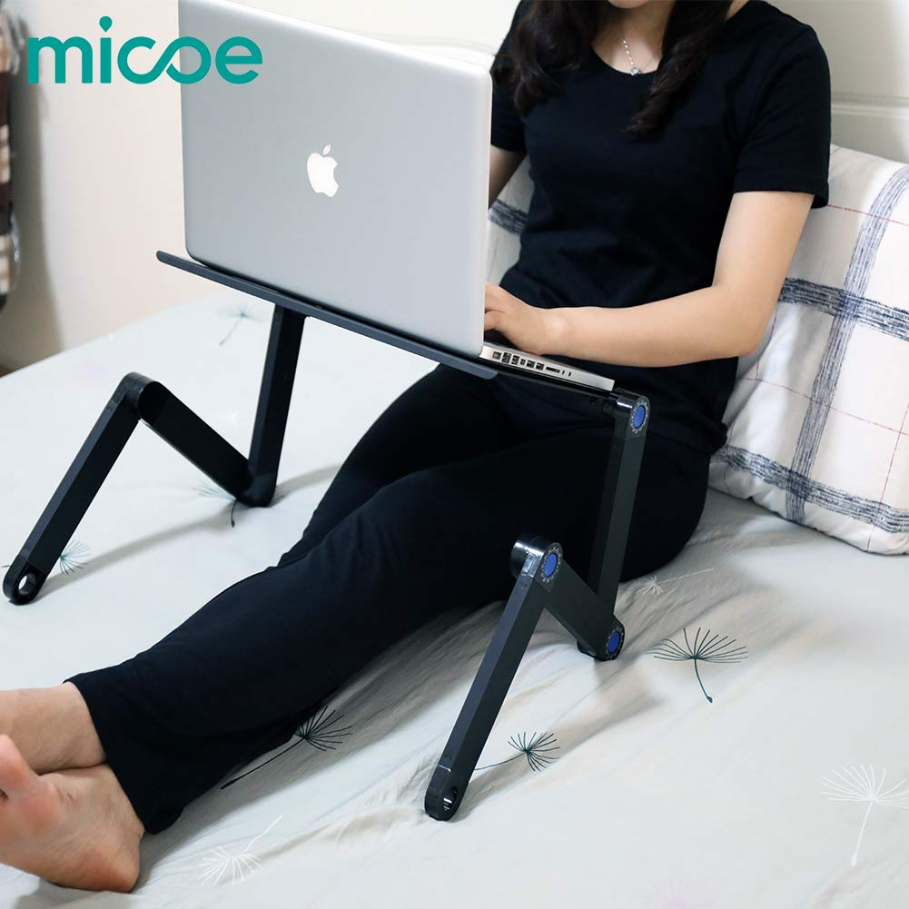 MICOE Laptop Stand Riser & Computer Desk Multifunctional Adjustable Portable Table Bed Tray with Ergonomic Dual Layer Tabletop Design Aluminum Black by micoe