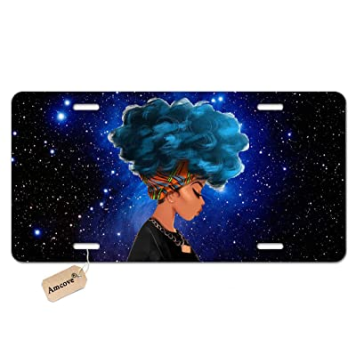 Amcove African Women with Blue Hair Hairstyle Galaxy Background Novelty License Plate Decorative Front Plate,6 X 12 Inch: Automotive
