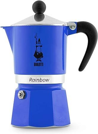 Bialetti Rainbow Cafetera Italiana Espresso,3 Tazas, Aluminio, Azul