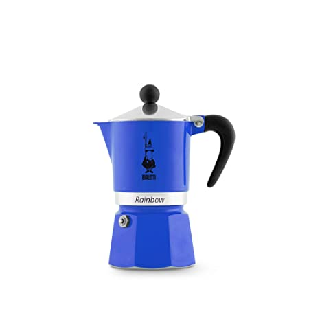 Bialetti 5242 Rainbow Cafetera Espresso para 3 Tazas, Aluminio/plástico Azul 30 x 20 x 15 cm