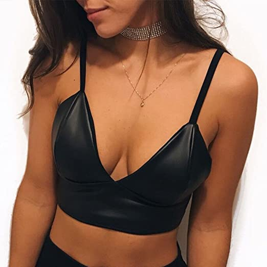 9a6dd2a63caf2 Amazon.com  Women Sleeveless Crop Top Wrapped Chest Bra Sling Vest Faux  Leather Blouse  Clothing