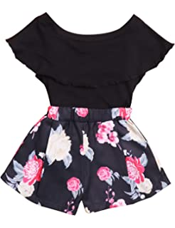 2bd4440e16d10 Amazon.com: SWNONE Baby Girl Clothes Outfit Floral Skirt +Vest Tops ...