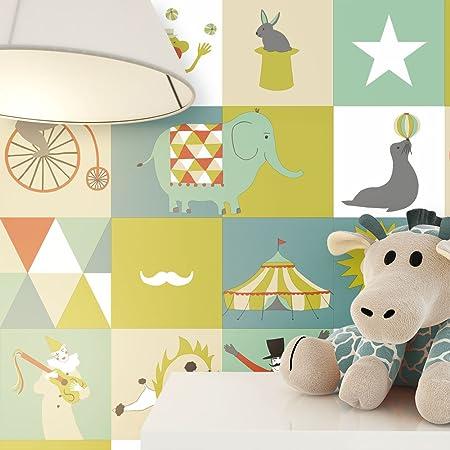 NEWROOM Kindertapete Grün Sterne Elefanten Kinder Vliestapete Bunt Vlies Kindertapete Kinderzimmer Babytapete Babyzimmer Nied