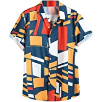 Slagon Summer Contrast Color Tee Geometric Printed Turn Down Top Collar Short Sleeve Blouse Loose Shirts For Men