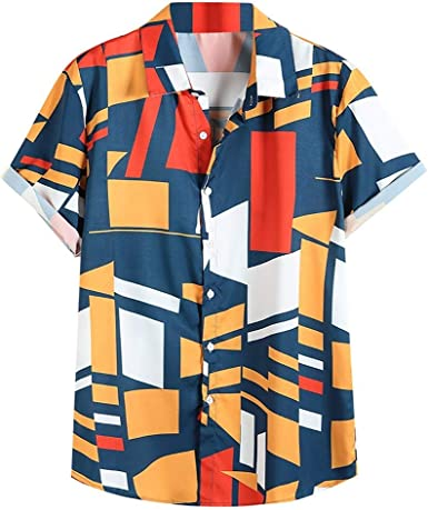 SO-buts Hombres Contraste Color Geométrico Impreso Turn Down ...