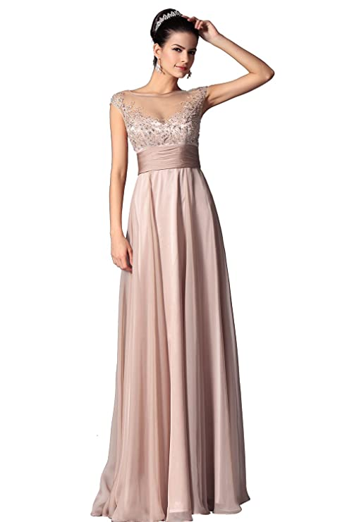 f68c285e9f0 Amazon.com  eDressit New Cap Sleeves Sheer Top Mother of the Bride Dress  (26149846)  Clothing