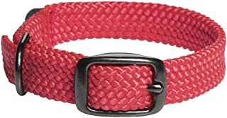 product image for Mendota Pet Double Braid Collar - Black Metallic - Dog Collar - Made in The USA - Red , 9/16 in x 12 in Junior