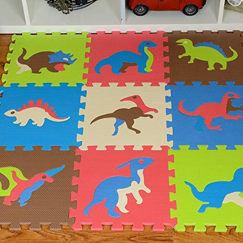Liberty Imports Dinosaur Zoo Educational Foam Puzzle Floor Mat for Kids + 10 Piece 12 inchesx12 inches Squares Blocks
