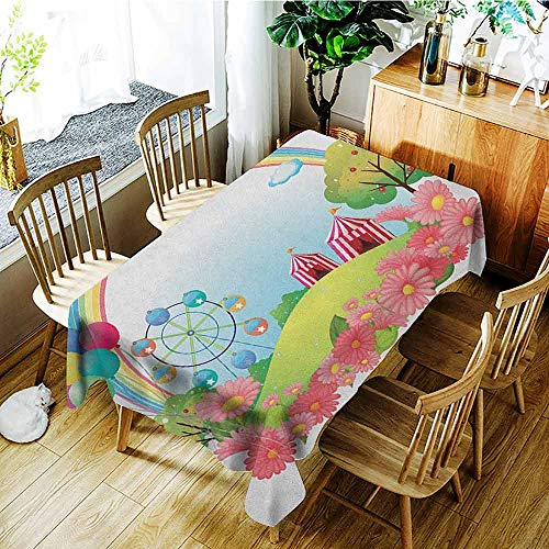 XXANS Tablecloth,Circus,Village Hill with Circus Tents Balloons and a Ferris Wheel Rainbow Colors Daisies,High-end Durable Creative Home,W52x70L Multicolor ()