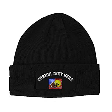Custom Text Embroidered Football Sport USA Unisex Adult Acrylic Double  Layer Patch Beanie Skully Hat - fe76629a9c93