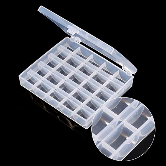 Caja de bobinas vacía Organizador de la Caja Máquina de Coser Bobina Caja Transparente Contenedor de Almacenamiento con o sin 25 bobinas/carretes Opcional (Design : Empty Case Only): Amazon.es: Hogar