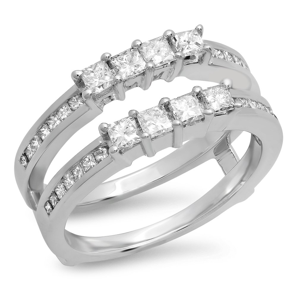 0.90 Carat (ctw) 10K White Gold Princess White Diamond Ladies Wedding Guard Double Ring (Size 7)