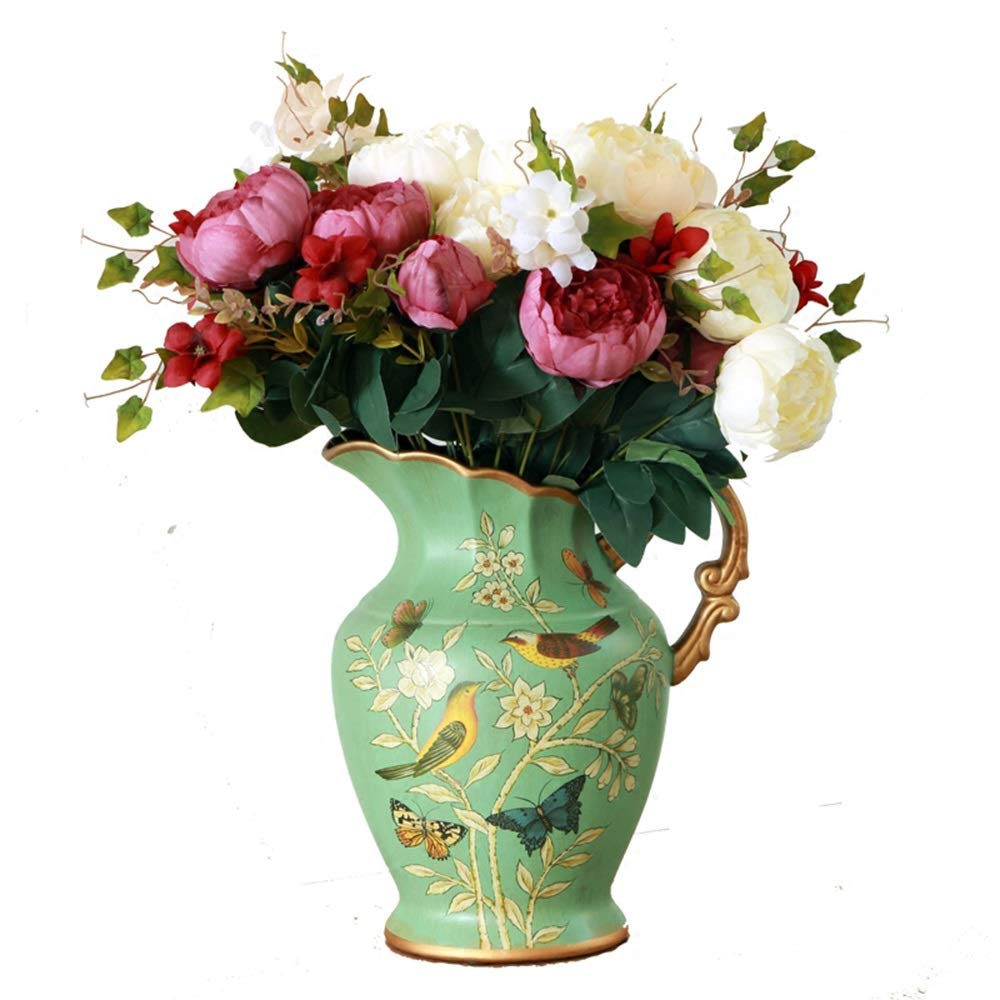 ヨーロッパスタイルのセラミック花瓶用花グリーン植物結婚式の植木鉢装飾ホームオフィスデスク花瓶花バスケットフロア花瓶 B07RGJZ7HH