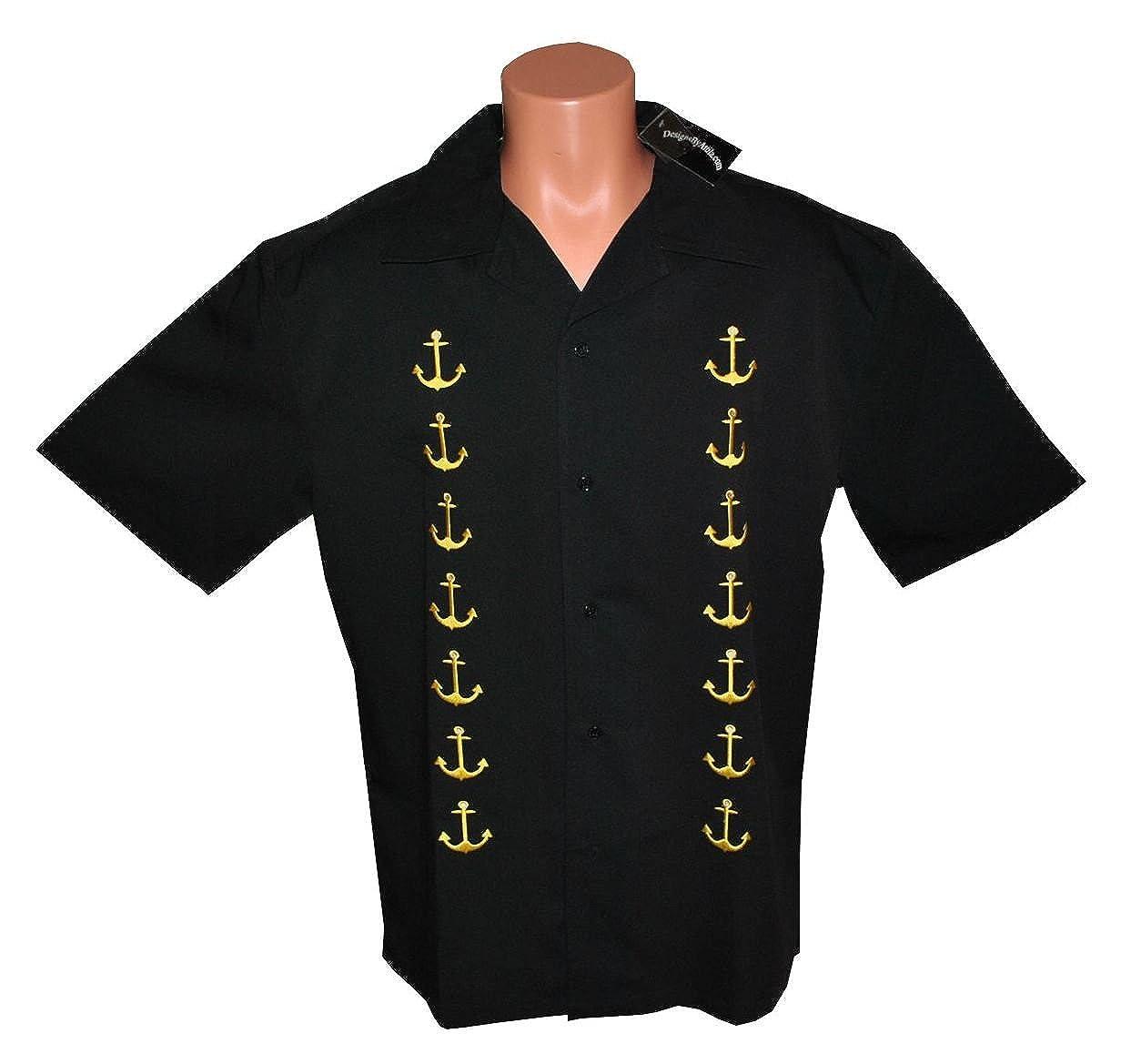 6e25274b Mens Retro Bowling Shirt, BIG & TALL. Ships Anchor Embroid