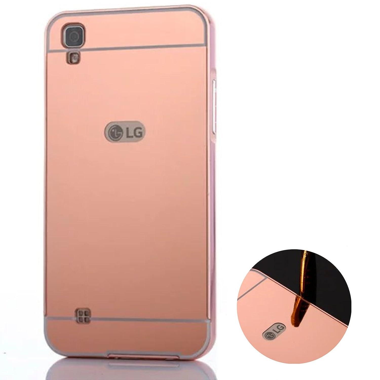Funda Espejo Aluminio Metal Carcasa para LG X Power K220 Color Rosado