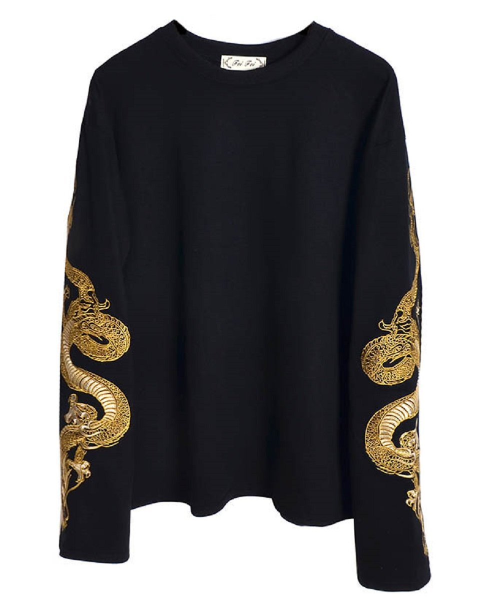 Focal20 Dragon Embroidery Sweatshirt Black Long Sleeve Pullover Loose Tracksuit BF Style Oversized