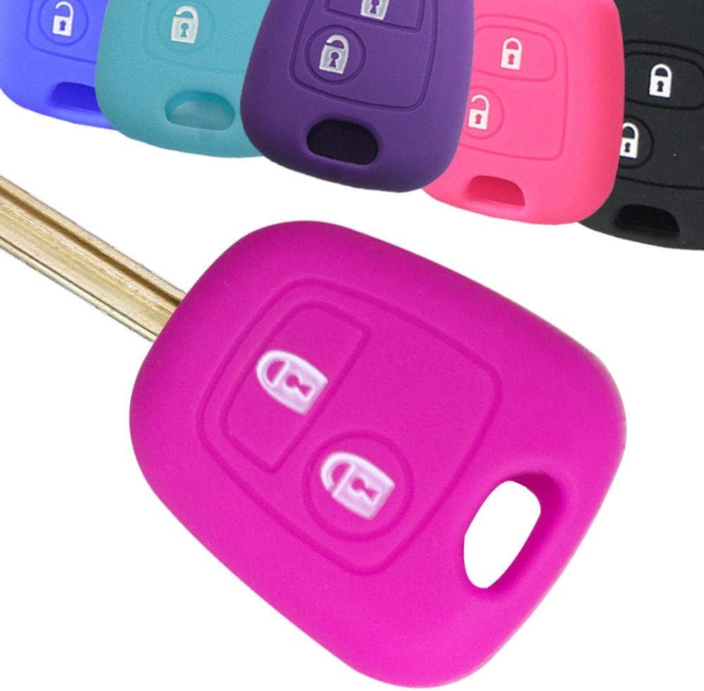Muchkey Cubierta de la Llave del Coche Funda de Silicona Funda de la Llave Funda de Chaqueta de Cuero Color Rosa Ajuste para 2 Botones Llave remota con