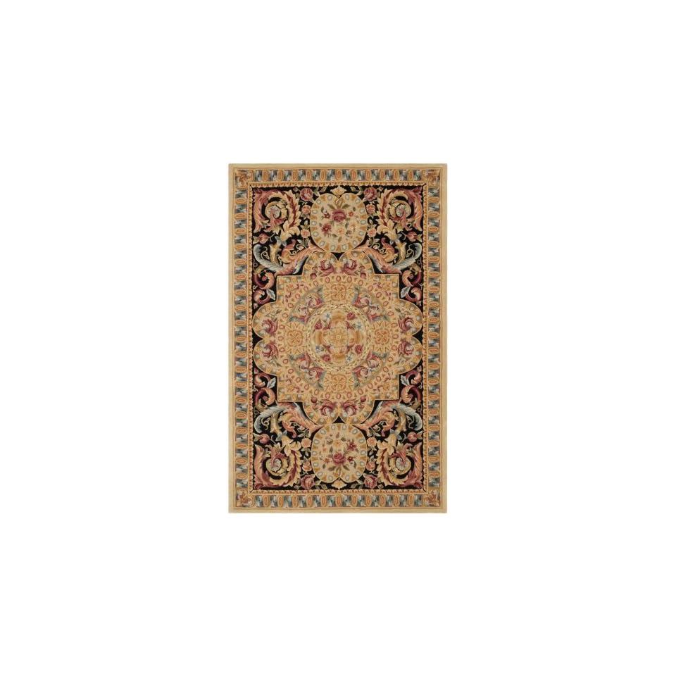 Safavieh Savonnerie Collection SAV205A Handmade Traditional European Beige and Black Wool Area Rug (5 x 8)