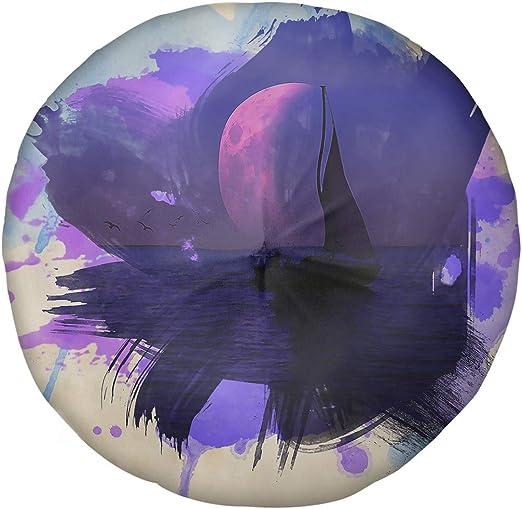 ArtVerse David Khieu 16 x 16 Spun Polyester Magenta Moon and Sailboat Pillow