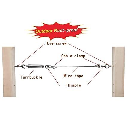 Muzata T316 Stainless Steel Eye Shape Screws Metal Hook,Wood Terminal Ring Eyelet Hooks Rings,Self Tapping,10 Pack,8x80MM CN16
