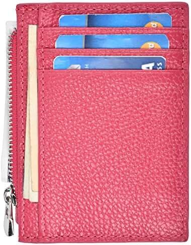 Woogwin RFID Slim Wallet Mens Zip Minimalist Front Pocket Wallet Genuine Leather