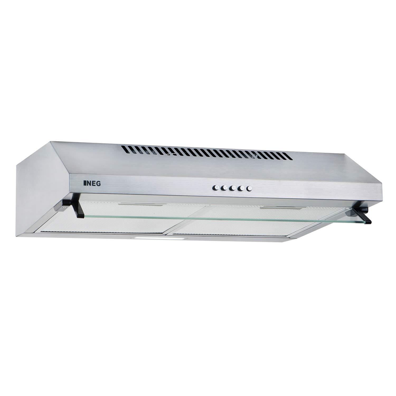 NEG Dunstabzugshaube NEG15-ATW+ (weiß ) Edelstahl-Unterbau-Haube mit Doppelmotor (Abluft/Umluft) und LED-Beleuchtung (60cm) Unterschrank- oder Wandanschluss