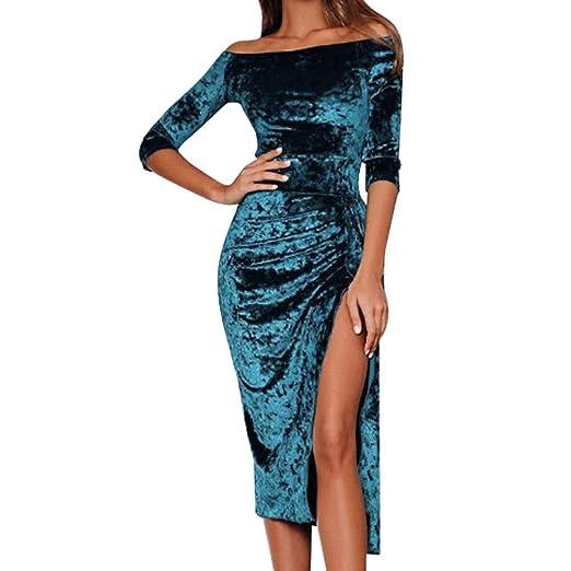 JPOQW-winter Women s Half Sleeve Dress Velvet Off Shoulder High Slit Solid  Knee-Length 872459925