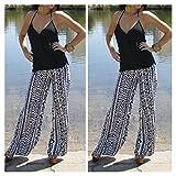 Lady Geometry Print Casual High Waist Wide Leg Long Pants Palazzo Trousers AF