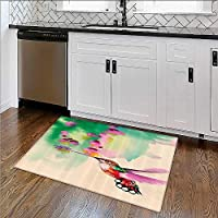 Easy Care Rug Collecti Of Hummingbirds in Moti And Rest Sunflowers Summer Fun Ideal Anti Slip Rug Pad W36xH20