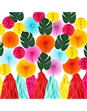 Hawaiian Party Decoration Kit Tropical Palm Leaf Banner Party Decorations Hanging Paper Fans Paper Lanterns Pom Poms Flowers Tissue Tassels Summer Luau Party Pool Party, Birthday Party Decorations