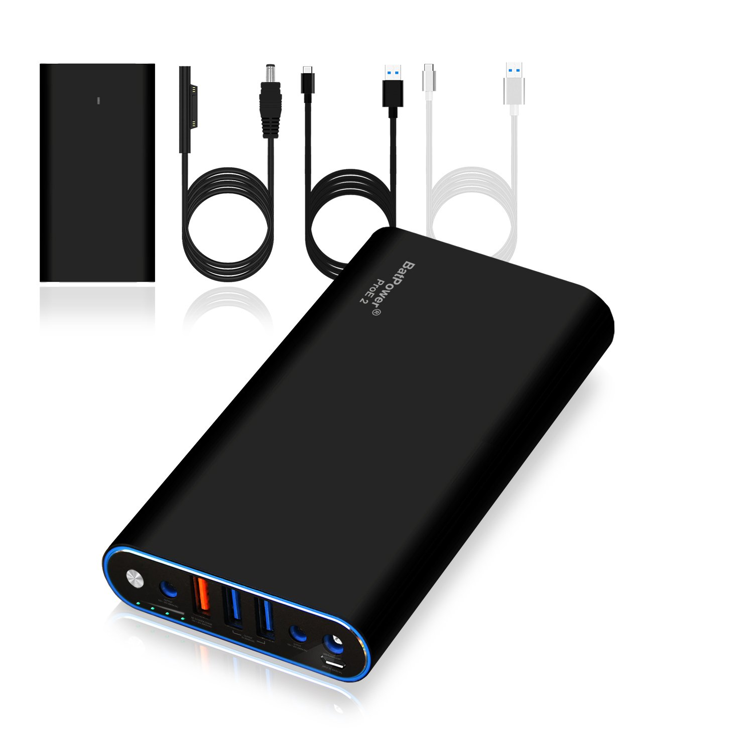 BatPower ProE 2 ES7 Portable Charger External Battery Power Bank for Surface Laptop, Surface Book, Book 2, Surface Pro 4 / 3 / 2 and RT, USB QC 3.0 Fast Charging for Tablet or Smartphone -98Wh