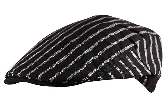 bd1ae8b4f56 Itzu Mens Cotton Flat Cap Hat Wide Pinstripe Newsboy Gatsby Golf in Black