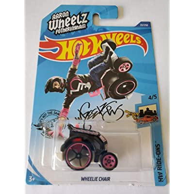 Hot Wheels 2020 HW Ride-Ons Aaron Wheelz Fotheringham Wheelie Chair 22/250, Black and Pink: Toys & Games