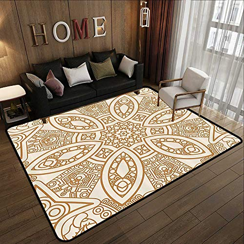 Throw Rugs,Beige Decor,Ornate Ethnic Squared and Rounded Asian Eastern Texture with Dimensional Axis Artwork,Tan Cream 47