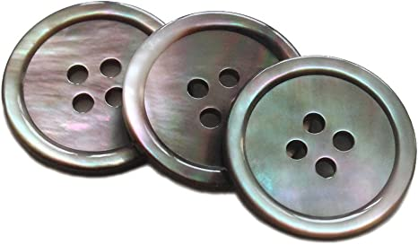 Smoke MOP YaHoGa 22 Pieces Genuine Smoke Mother of Pearl Blazer Buttons Suit Buttons Set 20mm 15mm Natural Grey MOP Buttons Bulk for Men