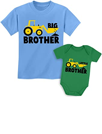 8855cd7548682 Big Brother Little Brother Shirts Gift for Tractor Loving Boys Siblings Set  Baby Green/Kids