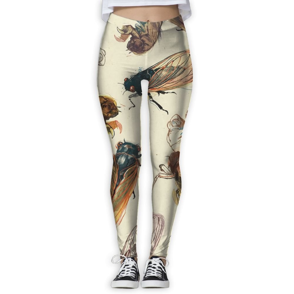 Doppyee Life Of Cicada Printing Compression Leggings Pants Tights For Women S-XL