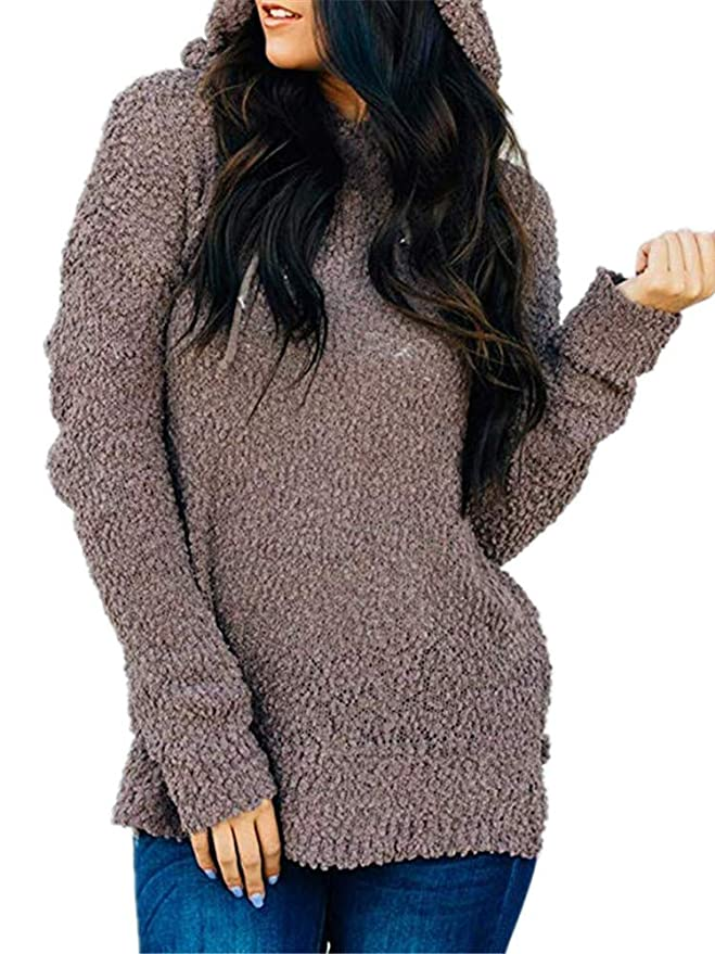 a086b7c199 Seraih Womens Fuzzy Sherpa Fleece Long Sleeve Sweaters Loose Asymmetric  Pullovers Coat at Amazon Women s Clothing store