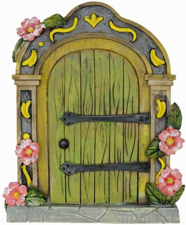 MUAMAX Fairy Garden Door Accessories Fairy Doors Wall Indoor/Outdoor Mystical Door for Tree Trunk (Green)