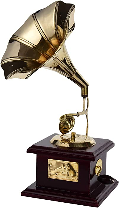 diollo Indian Handmade Wooden Brass Vintage Style Gramophone Showpiece Antique Gift for Home Decor, Wedding