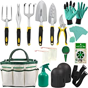 Garden Tools Set - 14 Piece Gardening Gifts Tool Kit for Women & Men with 6 Hand Tools, Garden Storage Tote, Watering Pot,Knee Pads ,Garden Gloves,Seeds Bag,Plant Labels,Garden Tie and Seeder Tool