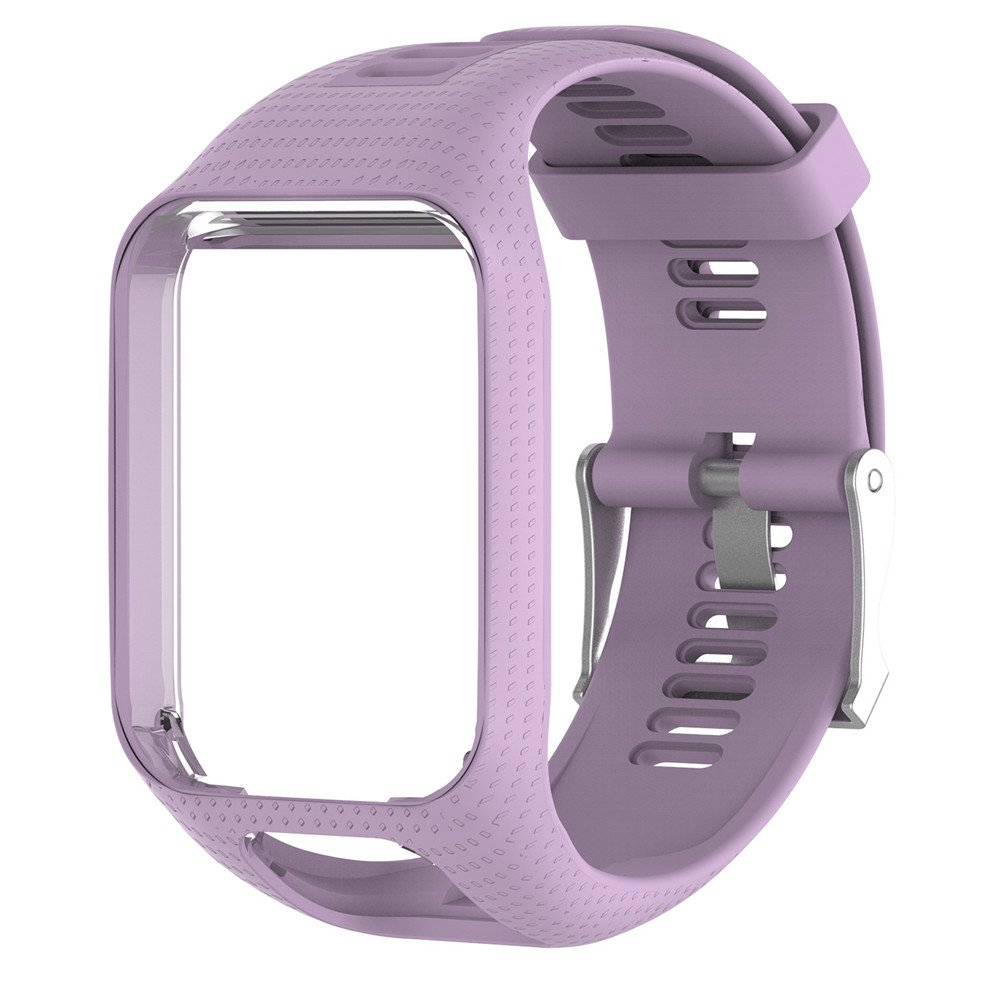 HUVE Silicagel Replacement Watchband Watch Strap 25cm long For TomTom 2/3/Spark/Spark3/Series GPS Watch with Screen Protectors (Lavender)