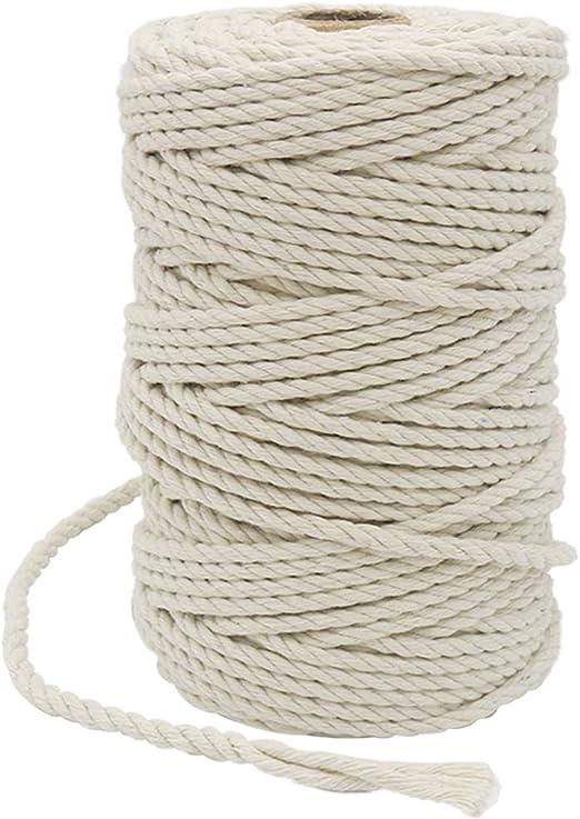 Cuerda de algodón de Vivifying, beige, 4mm 165 Feet: Amazon.es: Hogar