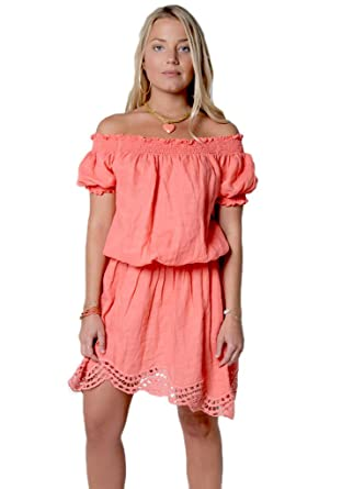 6c10473601f92 Claudio Milano Women s 100% Linen Off The Shoulder Dress with Elastic  Sleeves XL Peach