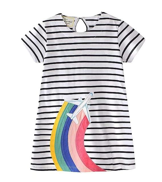 273dab7fcc23 AYOMIS Girl's Cotton Cartoon Short Sleeve Unicorn Casual Dresses(Aircraft  ...